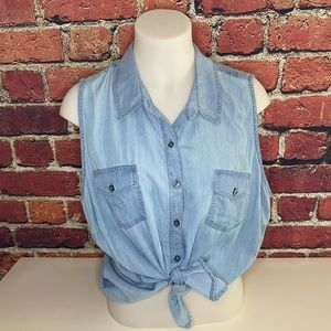Crown & Ivy Chambray Sleeveless Top